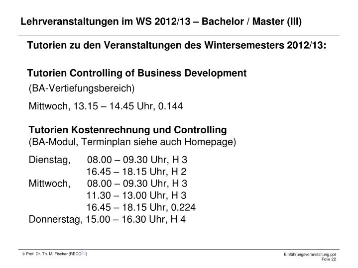 Lehrveranstaltungen im WS 2012/13 – Bachelor / Master (III)