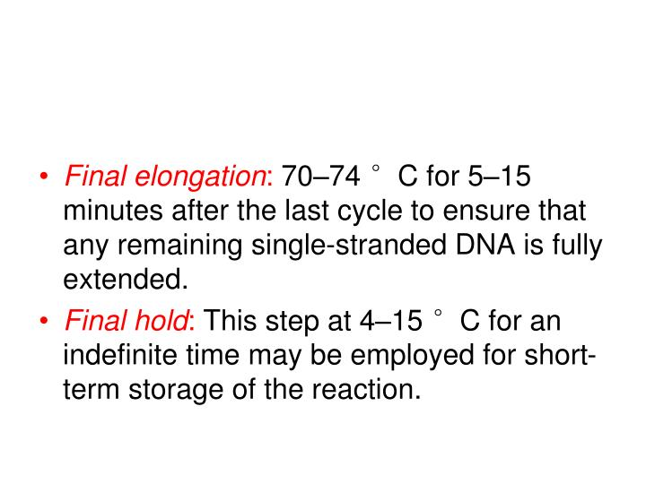 Final elongation