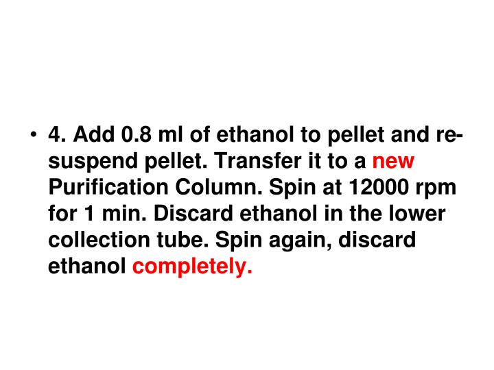 4. Add 0.8 ml of ethanol to pellet and re-suspend pellet. Transfer it to a