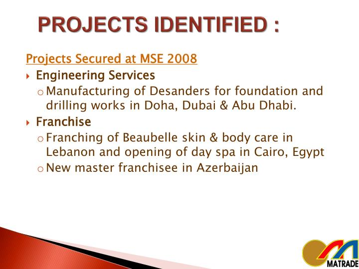 PROJECTS IDENTIFIED :