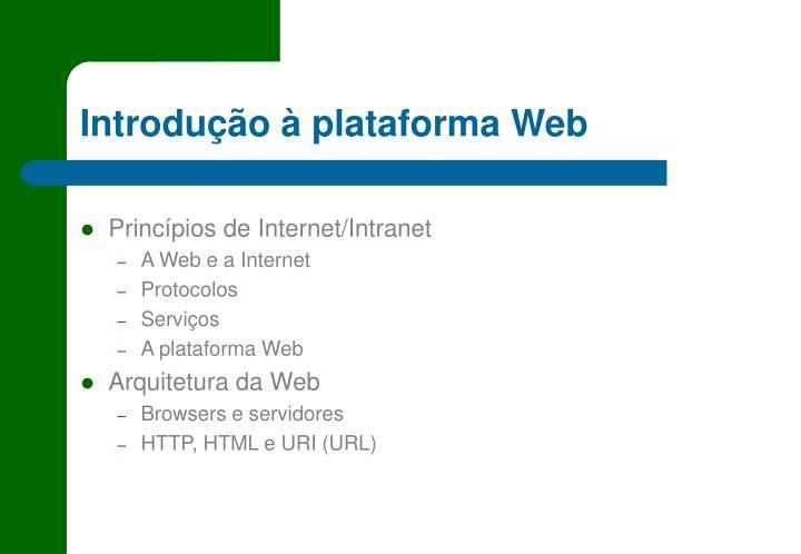 Introdução à plataforma Web