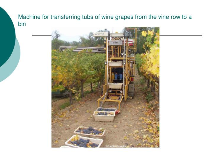 Machine for transferring tubs of wine grapes from the vine row to a bin