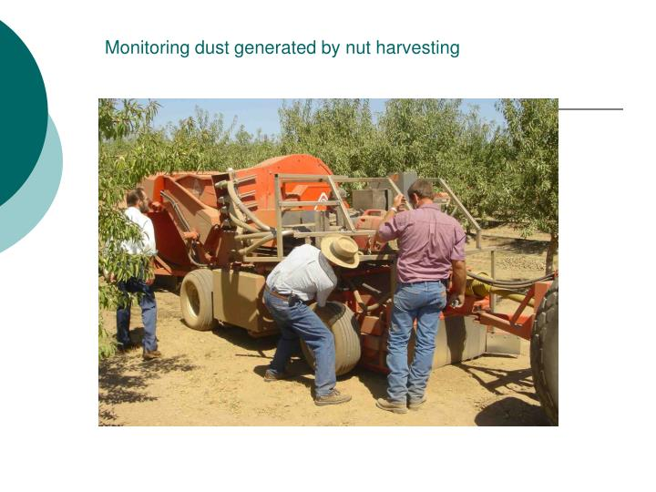 Monitoring dust generated by nut harvesting