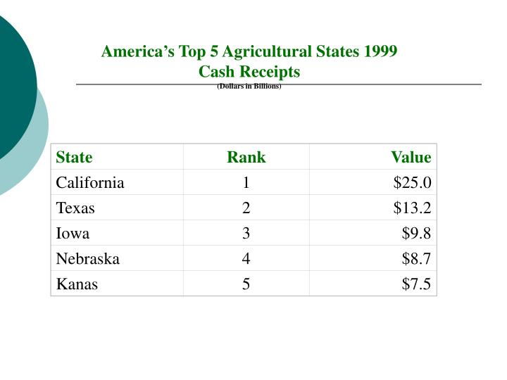 America's Top 5 Agricultural States 1999
