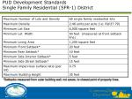 pud development standards single family residential sfr 1 district