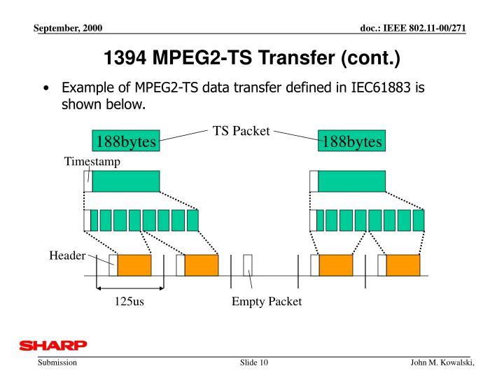 1394 MPEG2-TS Transfer (cont.)