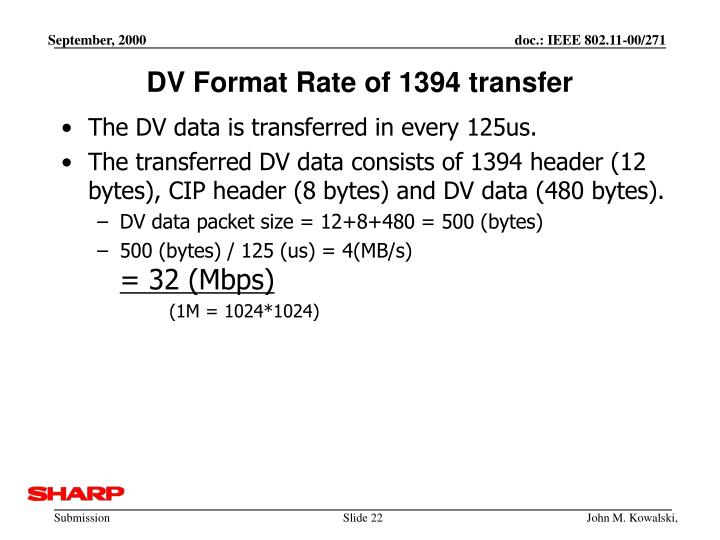 DV Format Rate of 1394 transfer