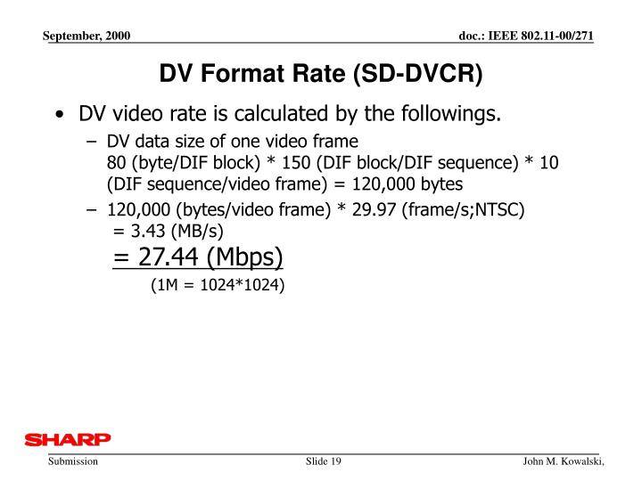 DV Format Rate (SD-DVCR)