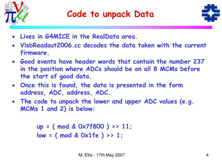 Code to unpack Data