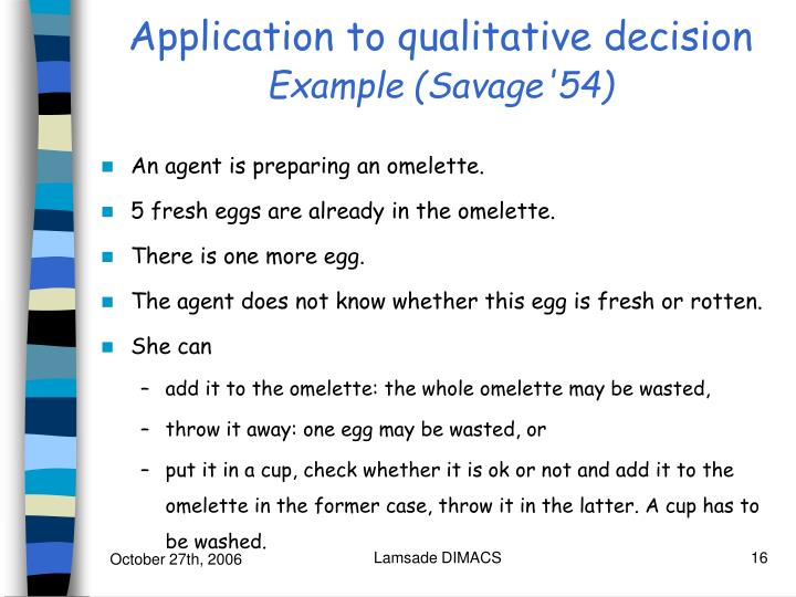 Application to qualitative decision