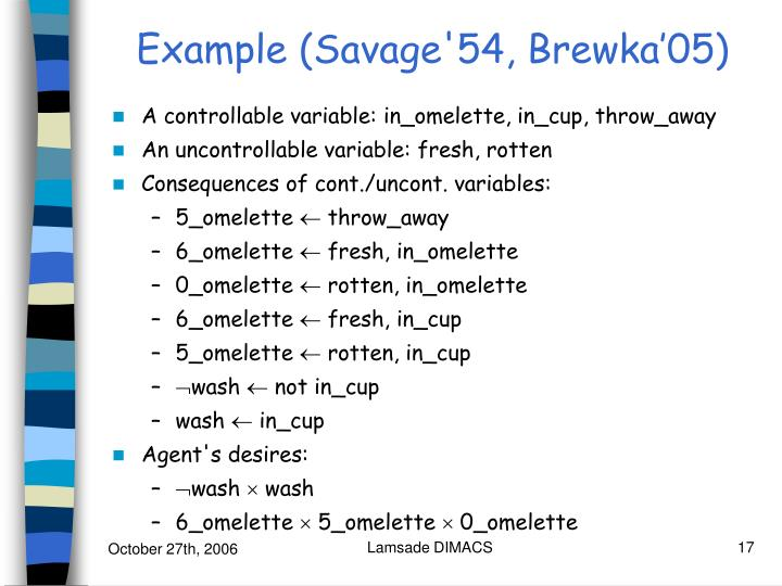 Example (Savage'54, Brewka'05)