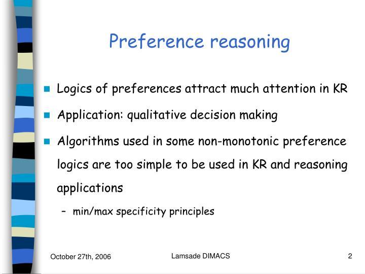 Preference reasoning