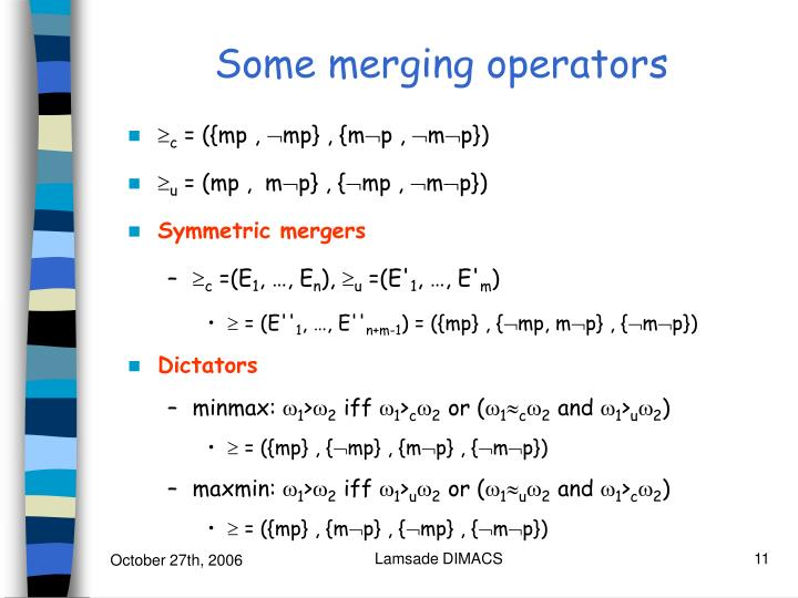 Some merging operators