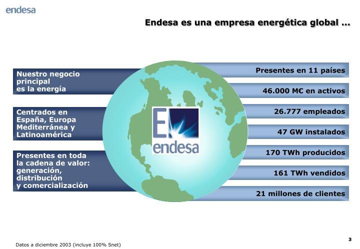 Endesa es una empresa energética global ...