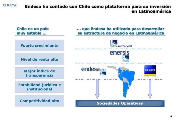 Endesa ha contado con Chile como plataforma para su inversión en Latinoamérica