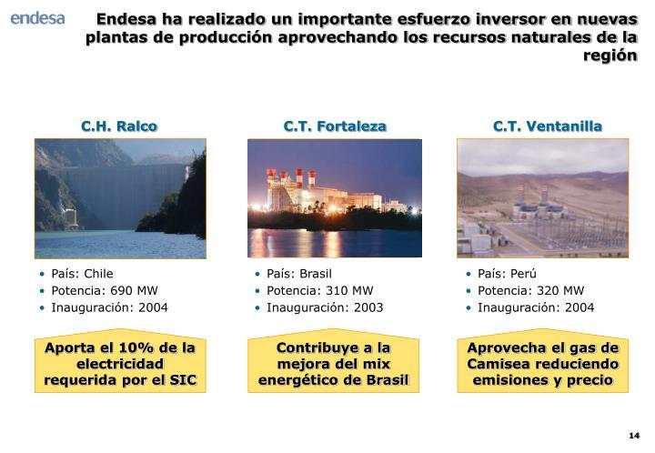 Endesa ha realizado un importante esfuerzo inversor en nuevas plantas de producción aprovechando los recursos naturales de la región