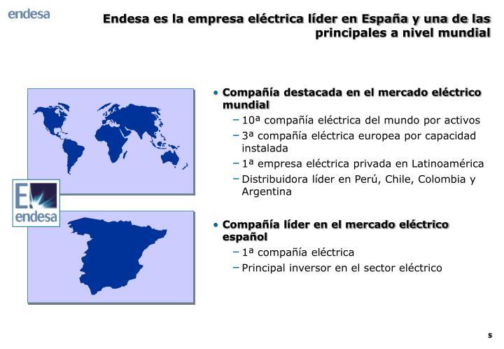 Endesa es la empresa eléctrica líder en España y una de las principales a nivel mundial