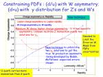 constraining pdfs d u with w asymmetry d u with y distribution for z s and w s