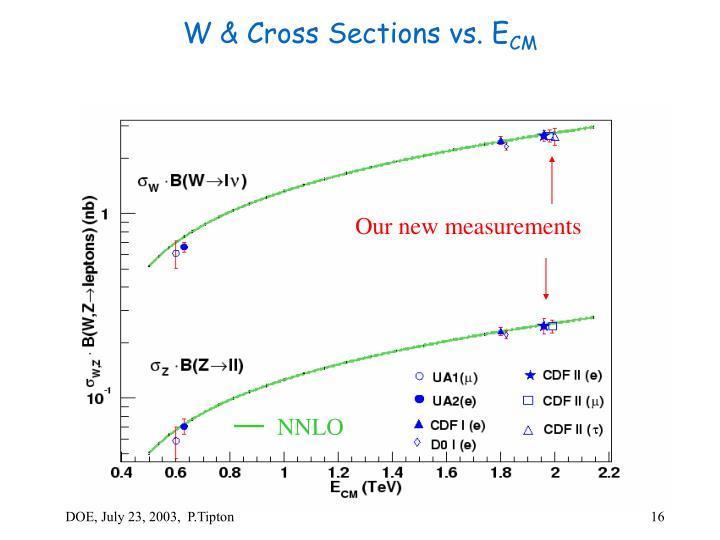 W & Cross Sections vs. E