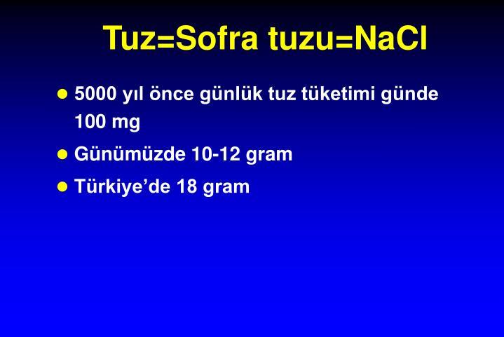 Tuz=Sofra tuzu=NaCl