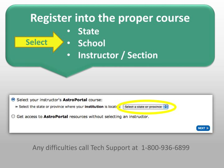 Register into the proper course