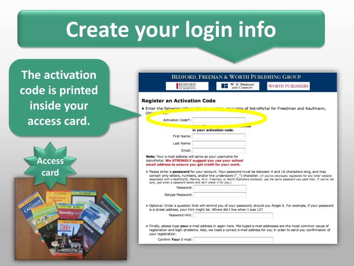 Create your login info
