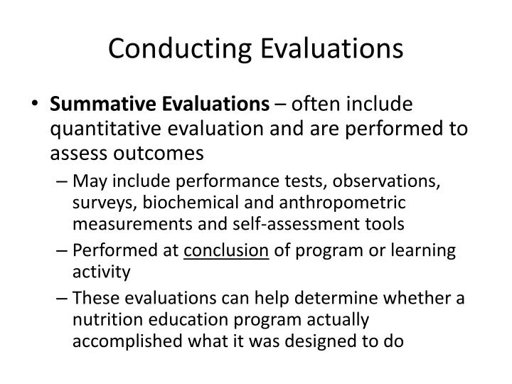 Conducting Evaluations