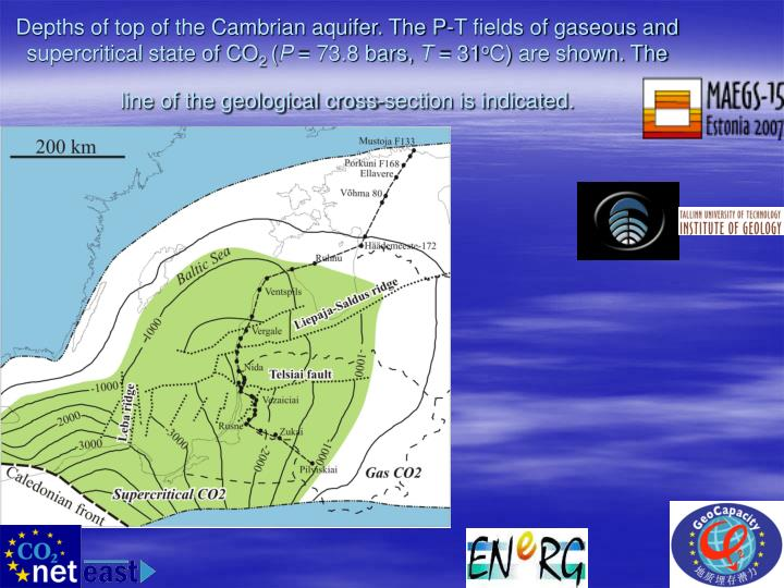 Depths of top of the Cambrian aquifer. The P-T fields of gaseous and supercritical state of CO