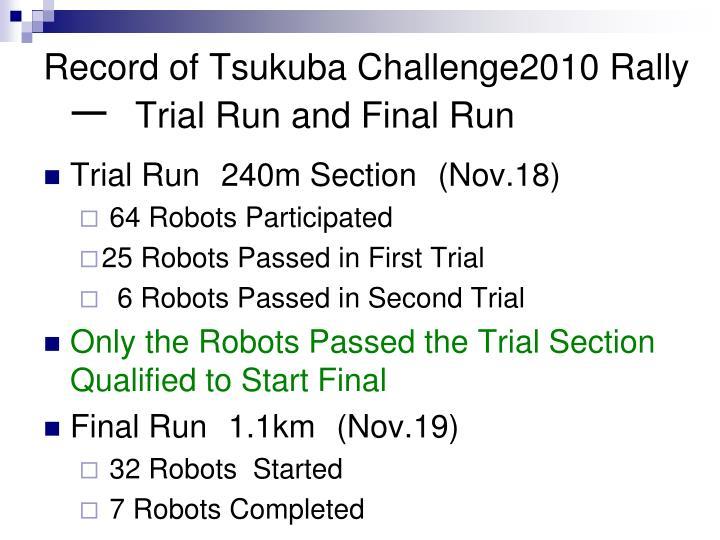 Record of Tsukuba Challenge2010 Rally