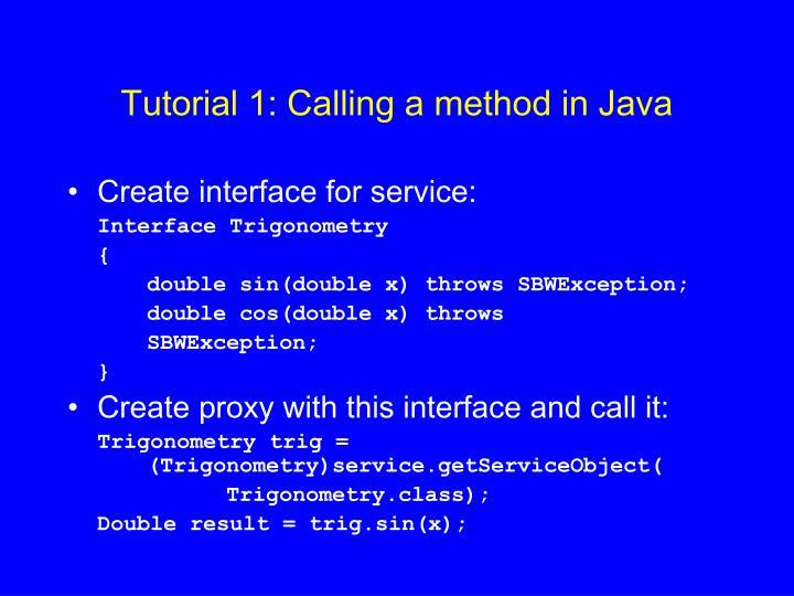 Tutorial 1: Calling a method in Java