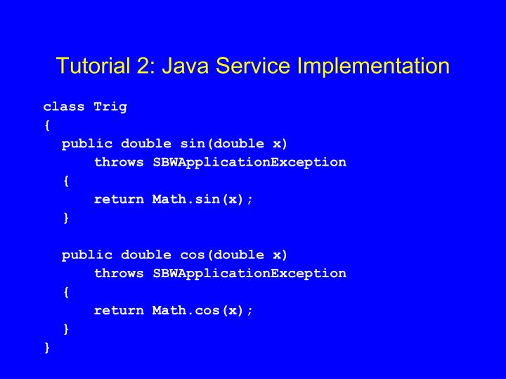 Tutorial 2: Java Service Implementation