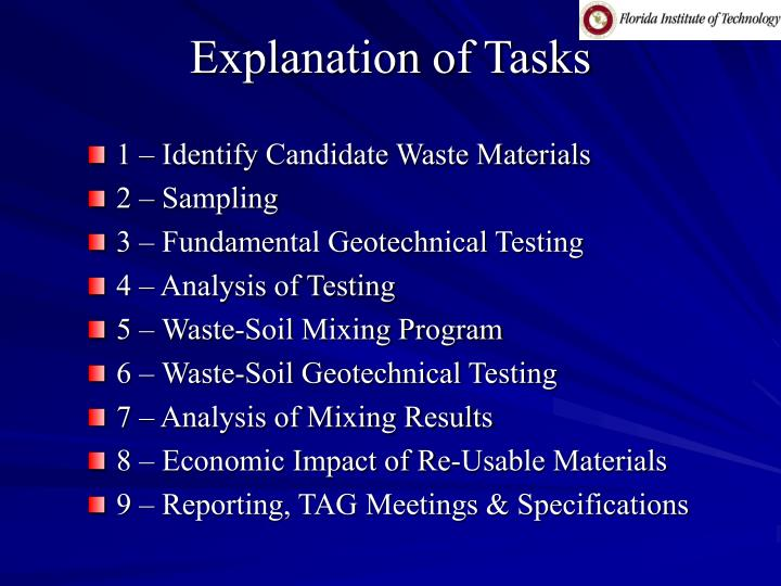 Explanation of Tasks