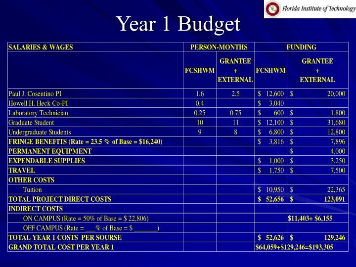 Year 1 Budget