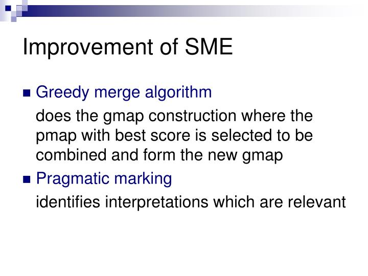 Improvement of SME