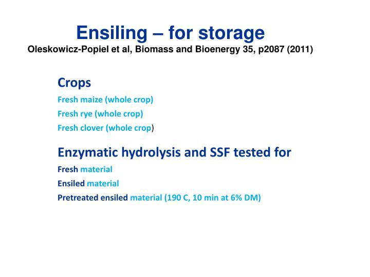 Ensiling – for storage