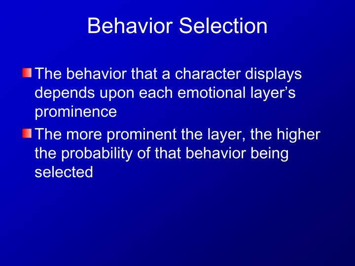 The behavior that a character displays depends upon each emotional layer's prominence