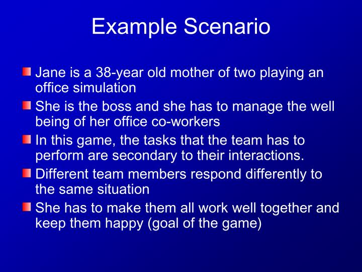 Jane is a 38-year old mother of two playing an office simulation