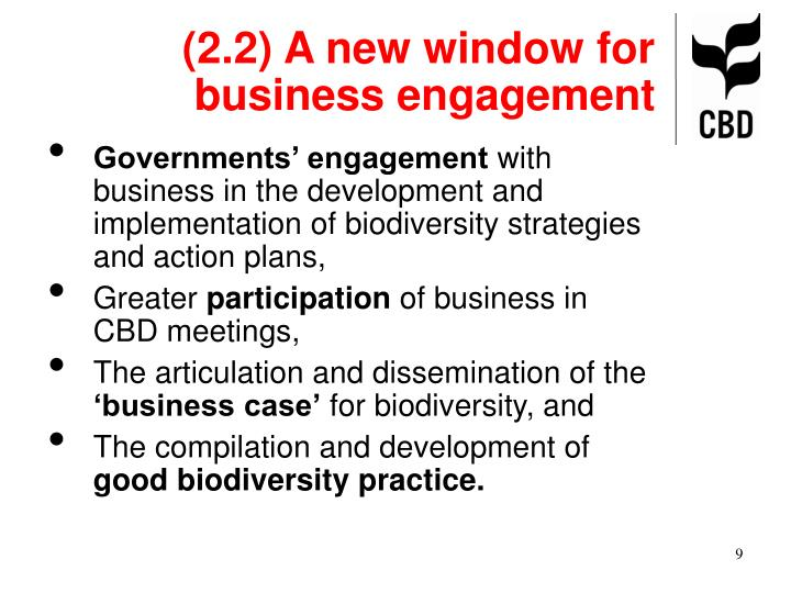 (2.2) A new window for business engagement