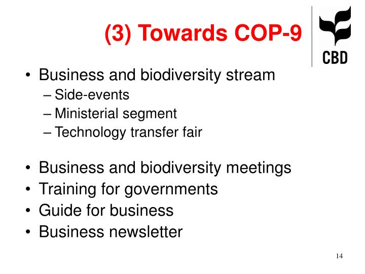 (3) Towards COP-9