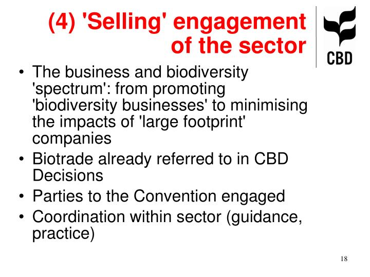 (4) 'Selling' engagement of the sector