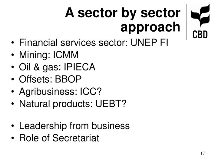 A sector by sector approach