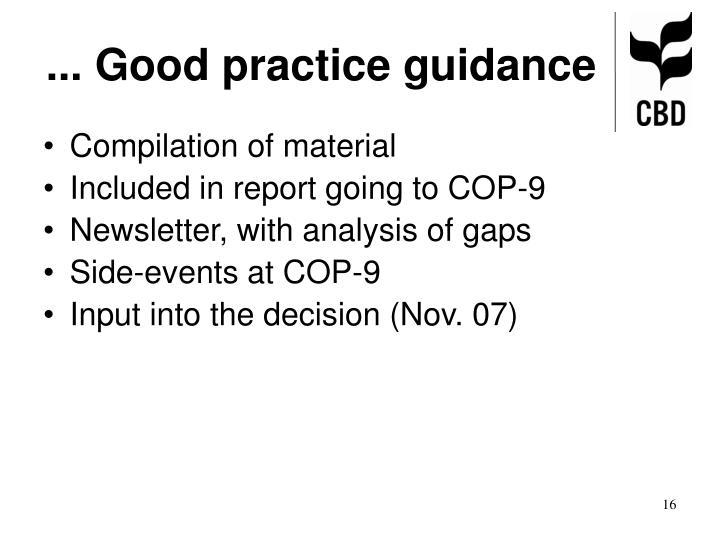 ... Good practice guidance