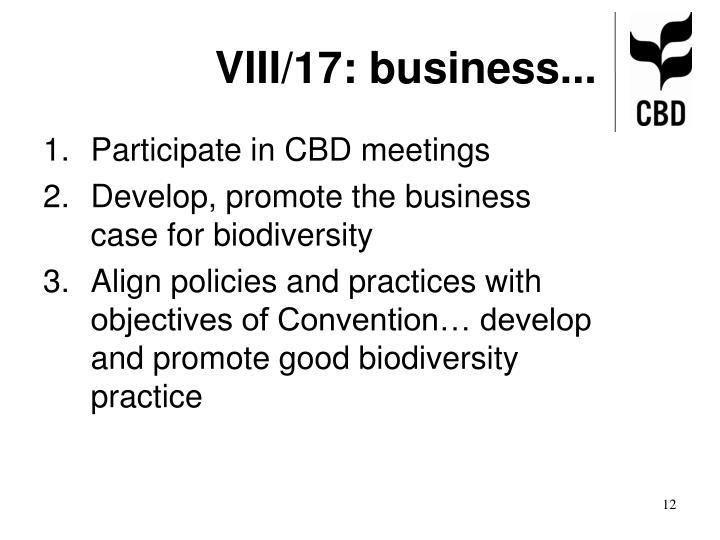 VIII/17: business...