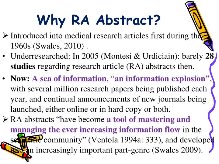 Why RA Abstract?