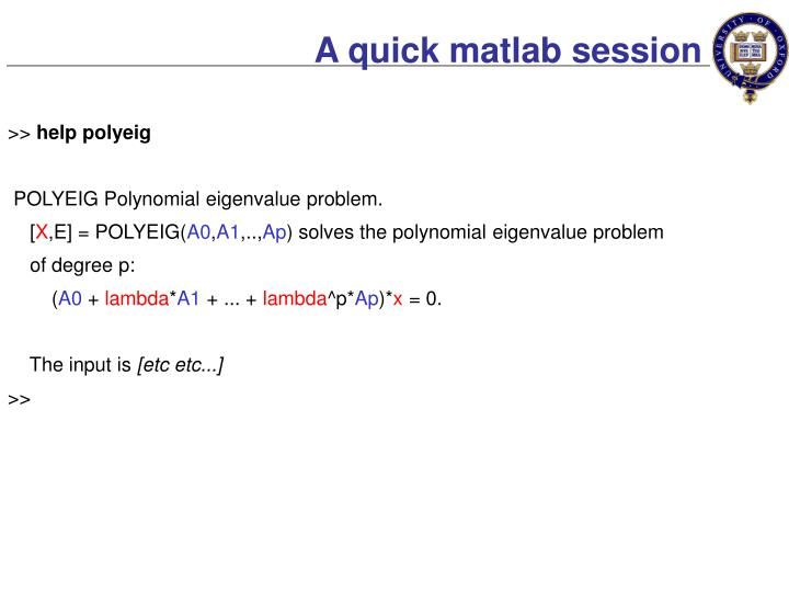 A quick matlab session