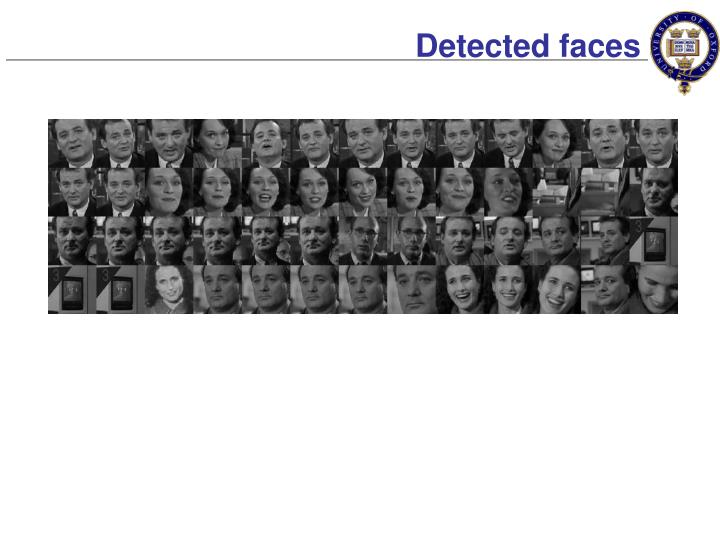 Detected faces