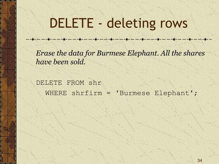 DELETE - deleting rows