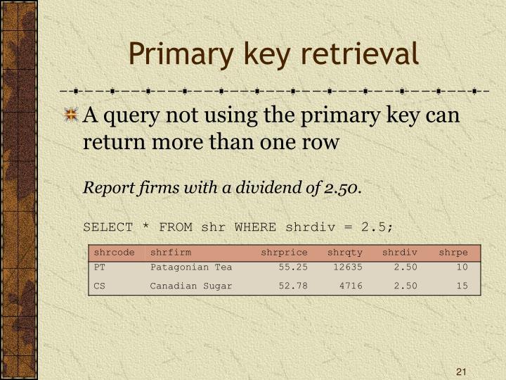 Primary key retrieval