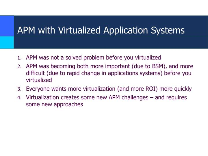 APM with Virtualized Application Systems