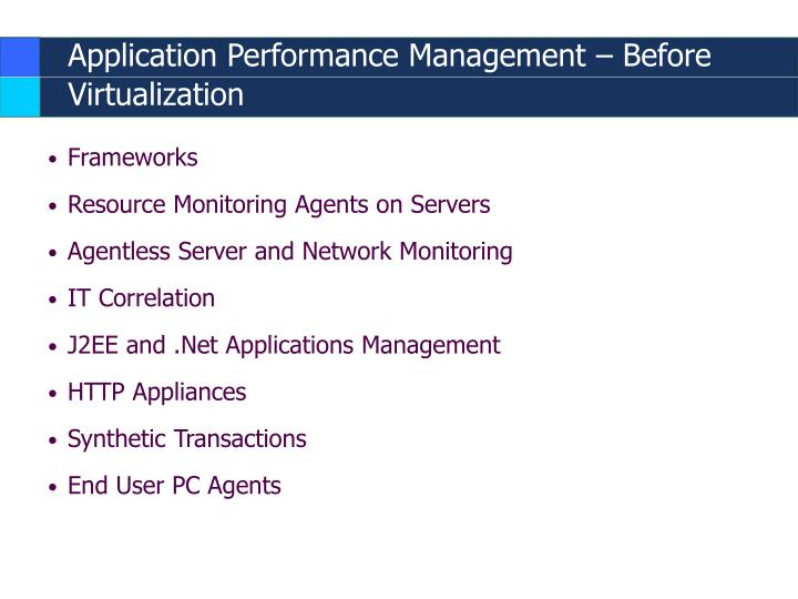 Application Performance Management – Before Virtualization